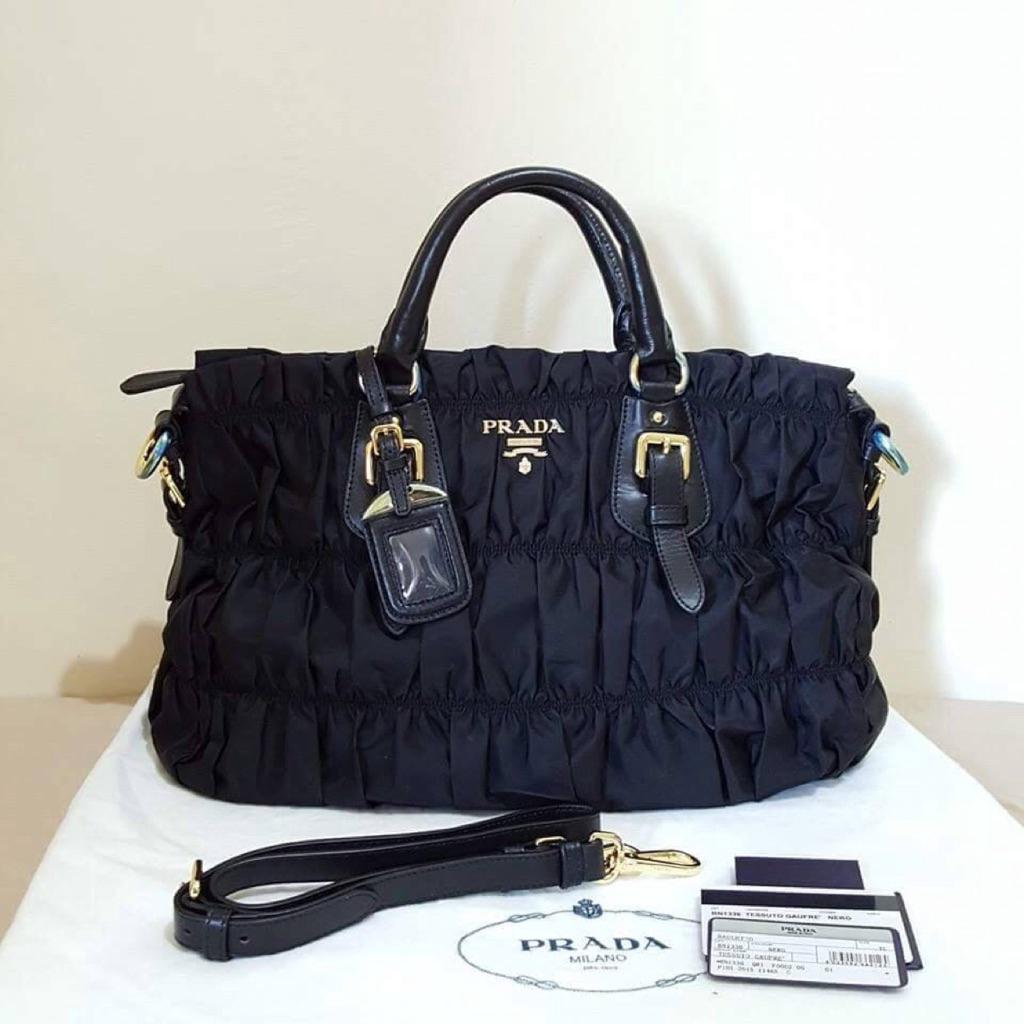 45546da8b9c1 Original Prada BN1336 Tessuto Gaufre Nero<BORO> | Shopee Singapore