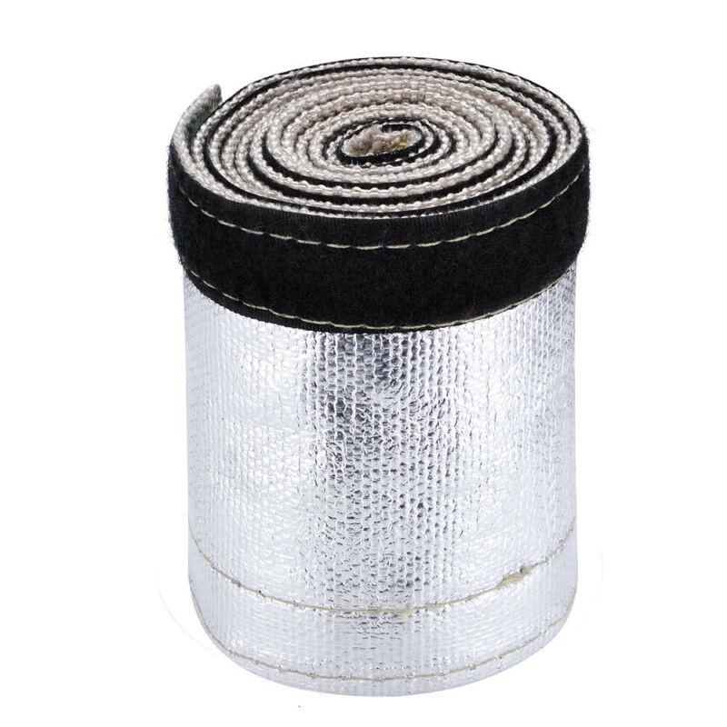 """Metallic Heat Shield Sleeve Insulated Wire Hose Cover Wrap Loom Tube 2/"""" 3 Ft"""