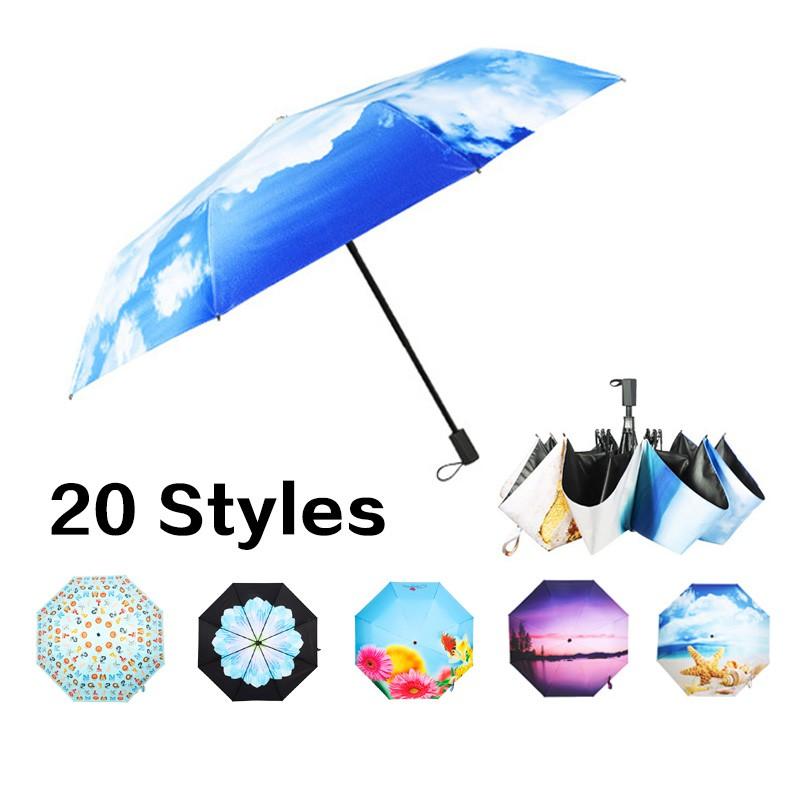 Cute Otter Automatic Tri-Fold Umbrella Parasol Sun Umbrella Sunshade
