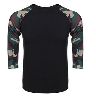 C1S Men 3/4 Raglan Sleeve Contrast Color Basic Tee T-Shirt