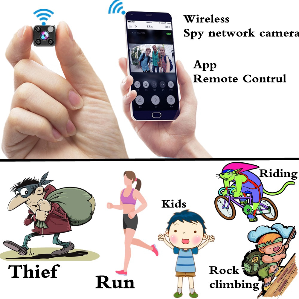 🔥Wireless Spy Camera Multifunction App Control Infrared Night vision IP  Network