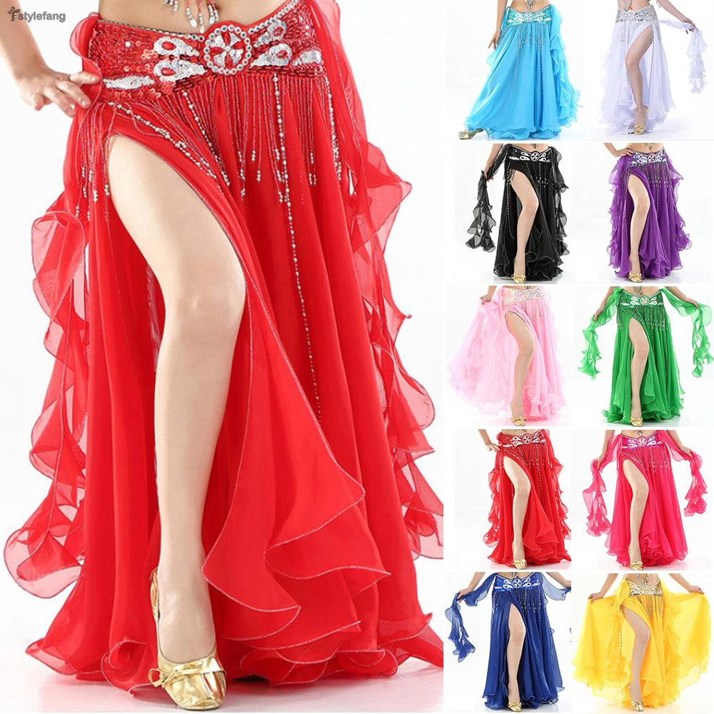 dc90d5f0e4 Woman Spanish Flamenco Dance Skirt Glossy Red Satin Belly Gypsy Dance  Practice | Shopee Singapore