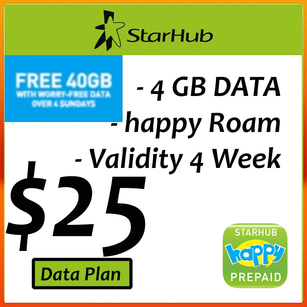 STARHUB Prepaid $25 DATA Plans eTop-Up - 24 Hours Instant Delivery!