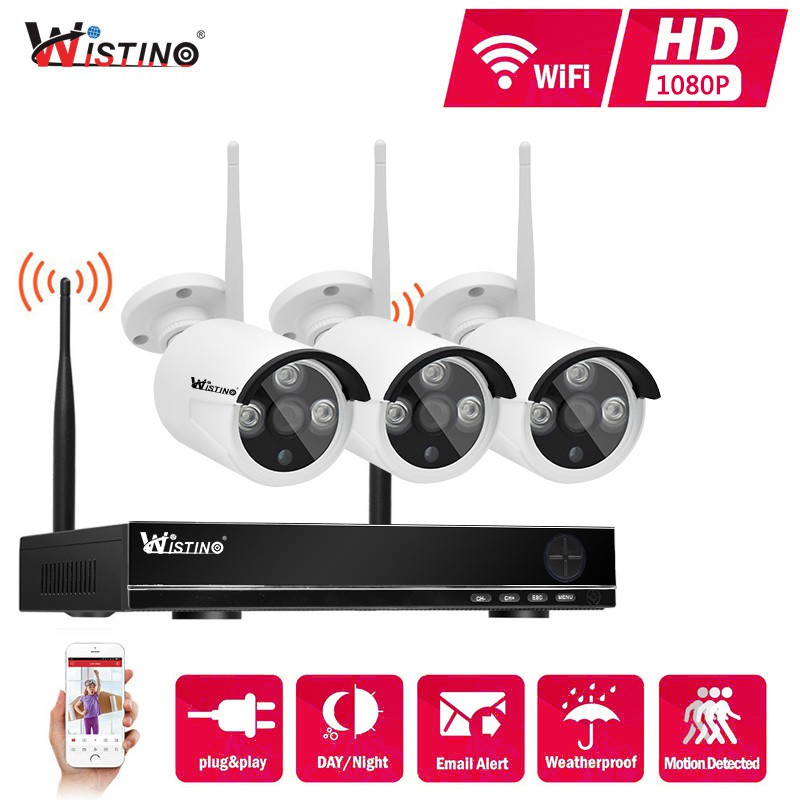 Wireless Security Camera System 4CH 1080P Audio IP WiFi Home P2P NVR Night Day