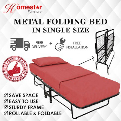 Single Portable Metal Folding Bed