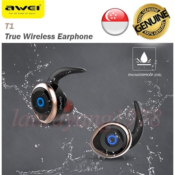 cd240653088 Awei T1 True Wireless Bluetooth Waterproof Earpiece Earphone Android  Samsung IOS | Shopee Singapore