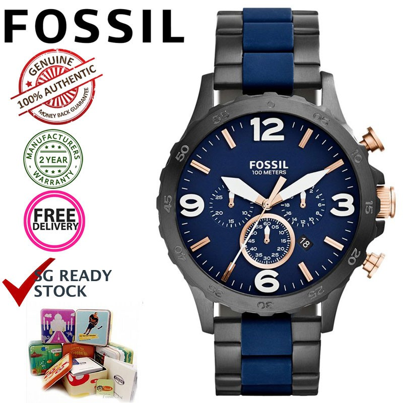 3c02a10080b Fossil JR1494 Nate Chronograph Black   Blue Stainless Steel Watch  In stock  SG