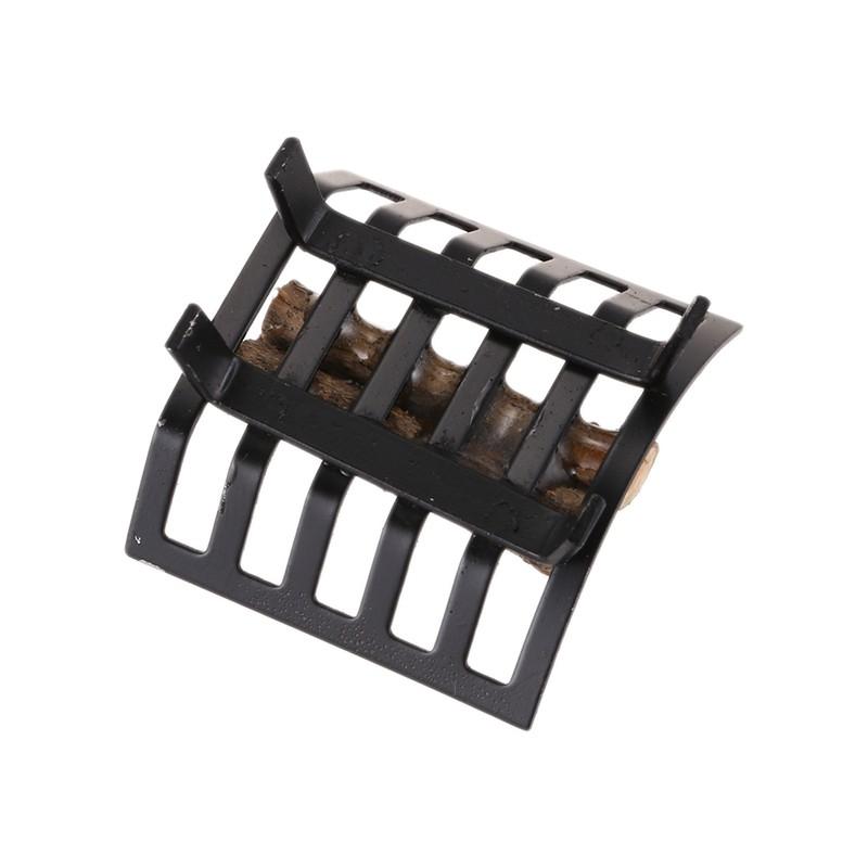1:12 Miniature Metal Firewood Rack For Dollhouse Furniture Lawn Garden Fireplace