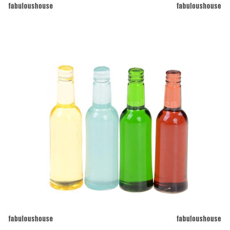 Mini 6pcs Wine Bottles With Wooden Frame  Ornament Dollhouse Accessories