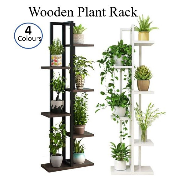 6 Tier Wooden Plant Rack Flowers Stand For Garden 4 Colours Shopee Singapore