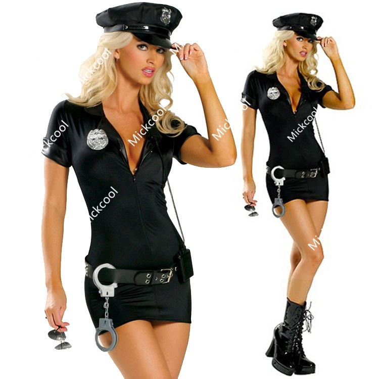 OP 11137 Ladies Costume Fancy Dress Black Police Cop Officer Uniform Size 6-10