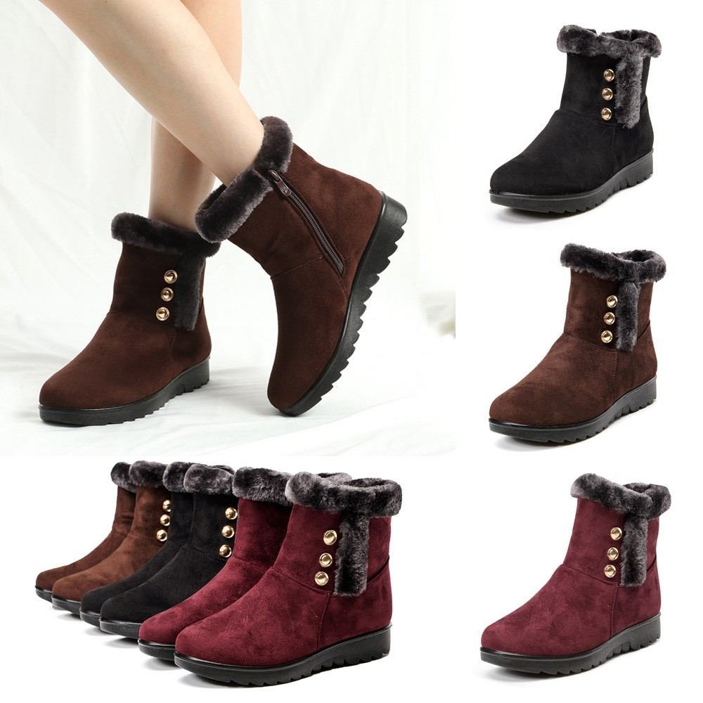 Women/'s Winter Warm Suede Ankle Snow Boots Fur Thicken Flats Casual Shoes 5.5-8
