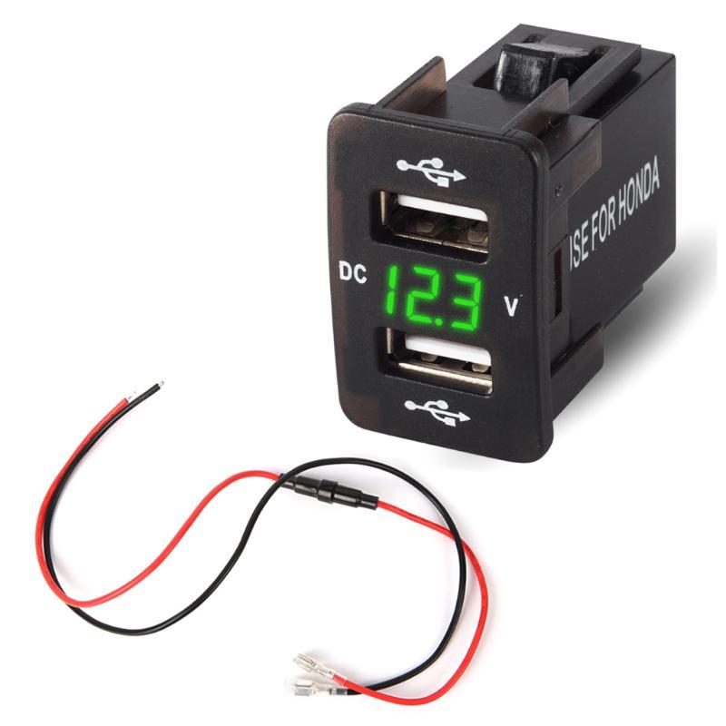 Car Boat Dual USB Socket Voltmeter Power Socket ON-OFF Switch 4 Hole #Panel