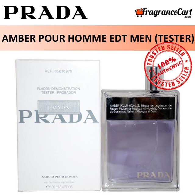 Prada Amber Pour Homme EDT for Men (50ml100mlTester) Eau de Toilette Ember Silver [Brand New 100% Authentic Perfume]