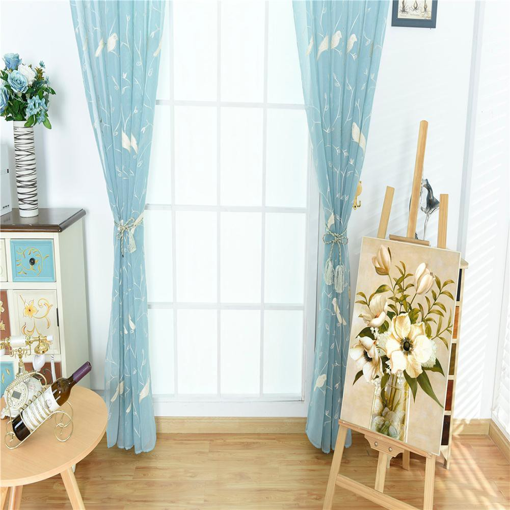 Embroideried Bird Feather Sheer Voile Tulle Curtains Windows Drape