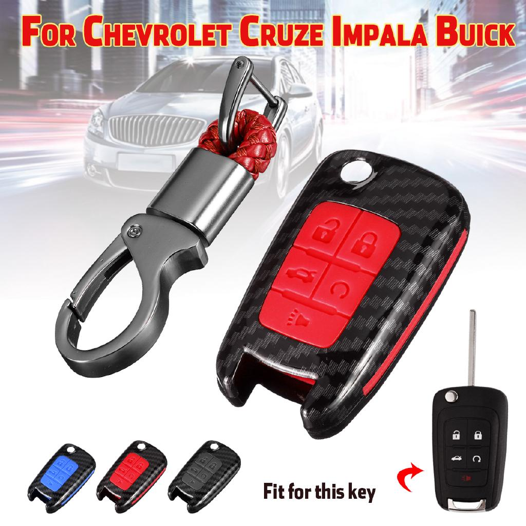 5 Button Carbon Fiber Key Fob Remote Case Cover For
