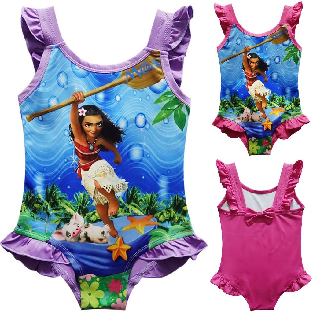 46bf20fb9ca58 Kids Girls Mona Cartoon Bikini Swimwear One Piece Holiday Summer Beach    Shopee Singapore