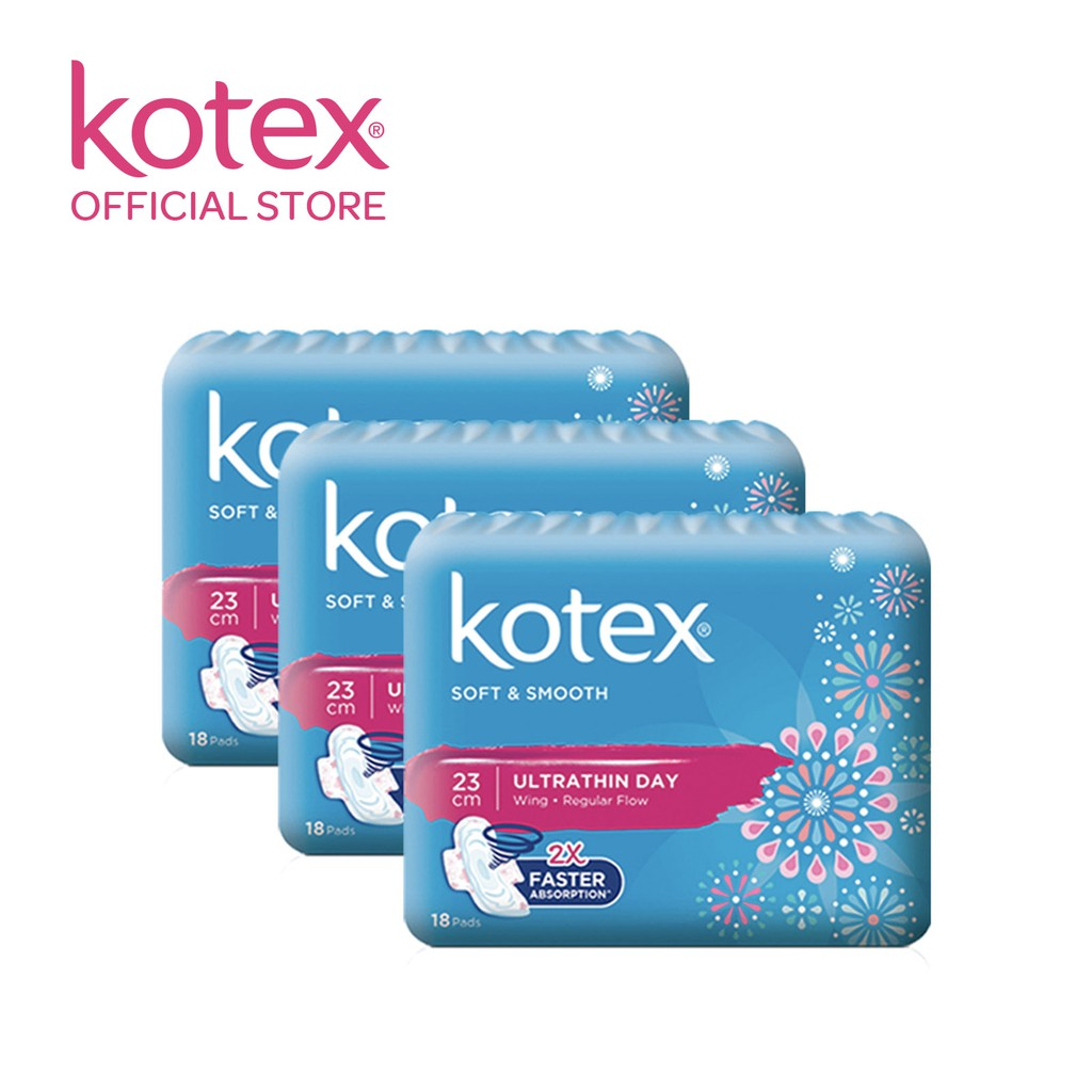 Kotex Pads Soft & Smooth Ultrathin Day/Overnight x3 packs