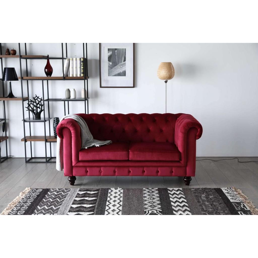 Hugo Chesterfield Sofa - Red Velvet Fabric