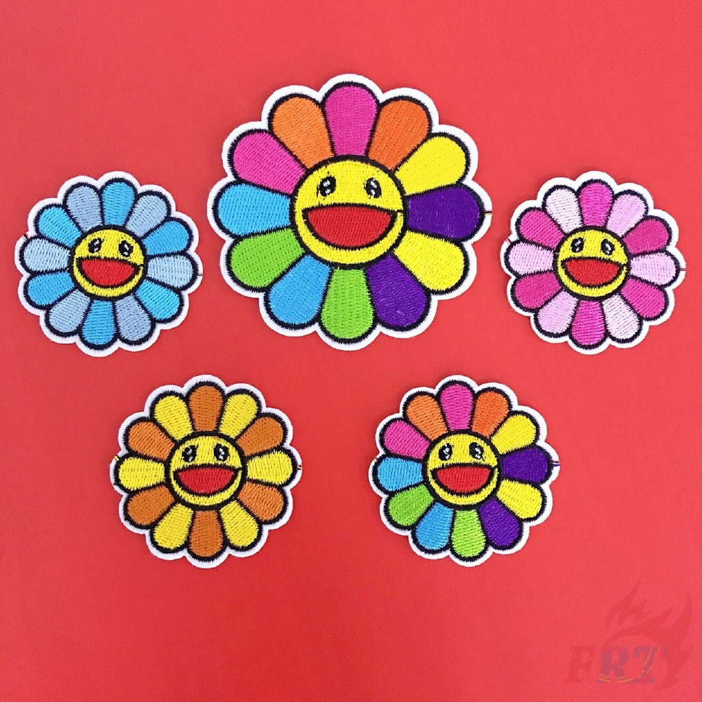 24pcs rose flower embroidered fabric Iron-on or Sew-on patch badges Mixed color