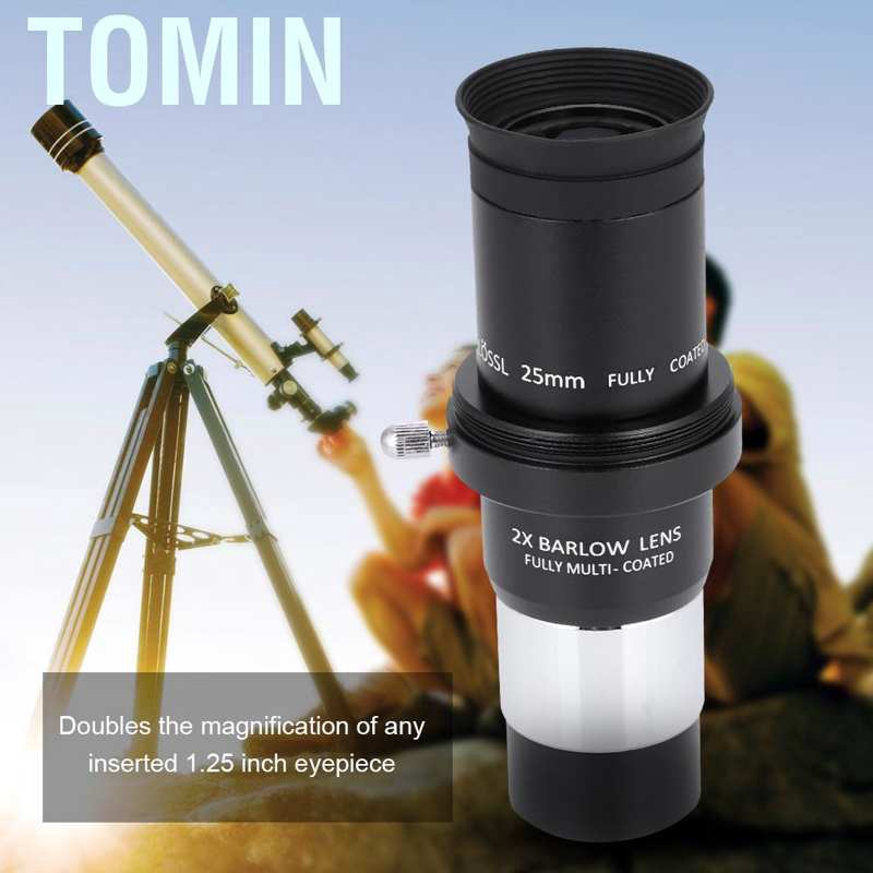 3X High Power Magnification,Fully Multicoated Optical Barlow Lens for 1.25Inch Eyepiece Vbestlife Astronomy Telescope Eyepiece Barlow Lens