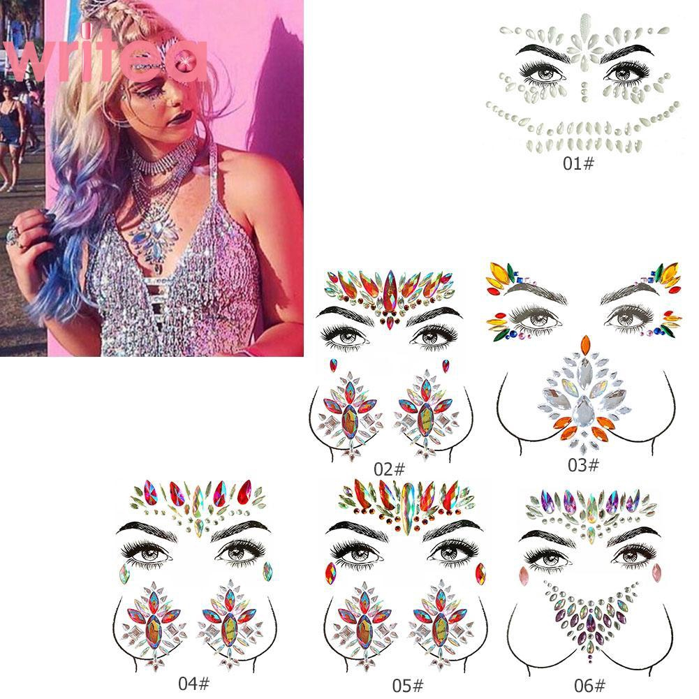 Ready Stock Useful Adhesive Gems Sticker Face Tattoo Body Art Jewelry Party Makeup Stickers Shopee Singapore
