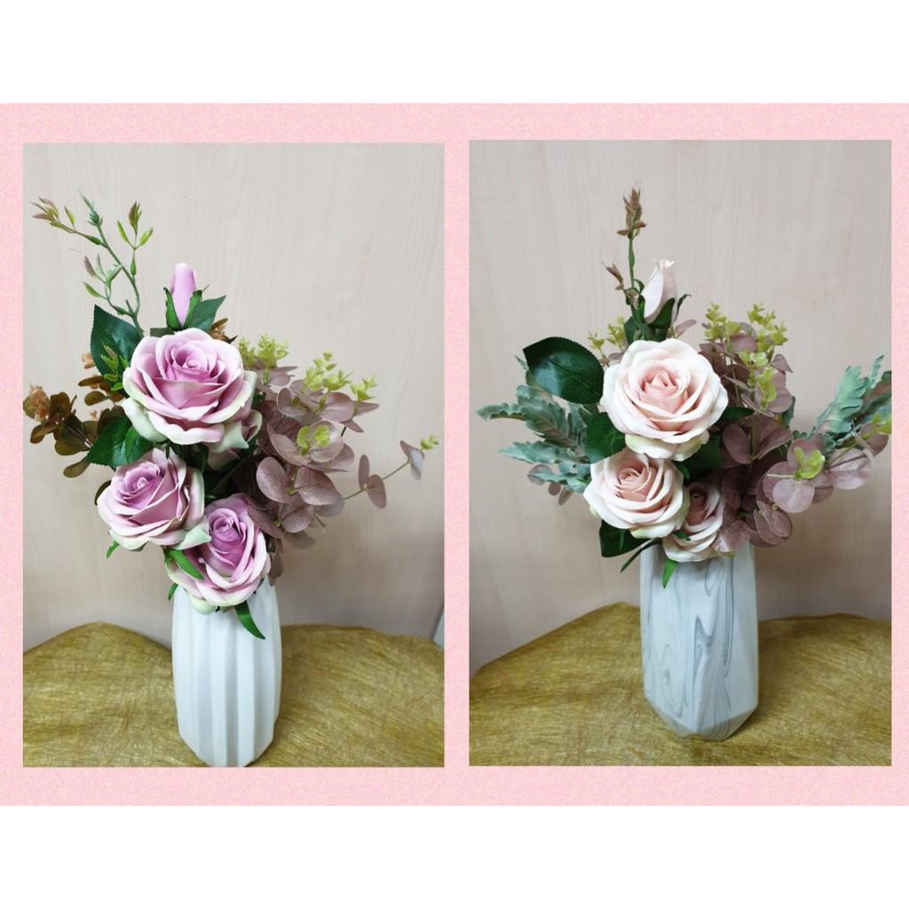 Artificial Flowers Arrangement Set Roses With Vase Local Sg Deliver Shopee Singapore