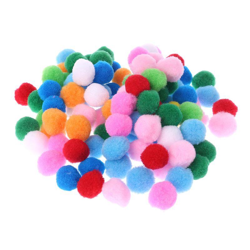 100pcs 15mm Dia Soft Round Pom Poms Pompoms Balls Bobbles DIY Craft Card Decor
