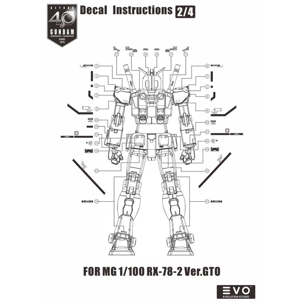 Evo Waterslide Decal Mg 1 100 Gundam Rx78 Gto 40th Anniversary Fluorescent Shopee Singapore