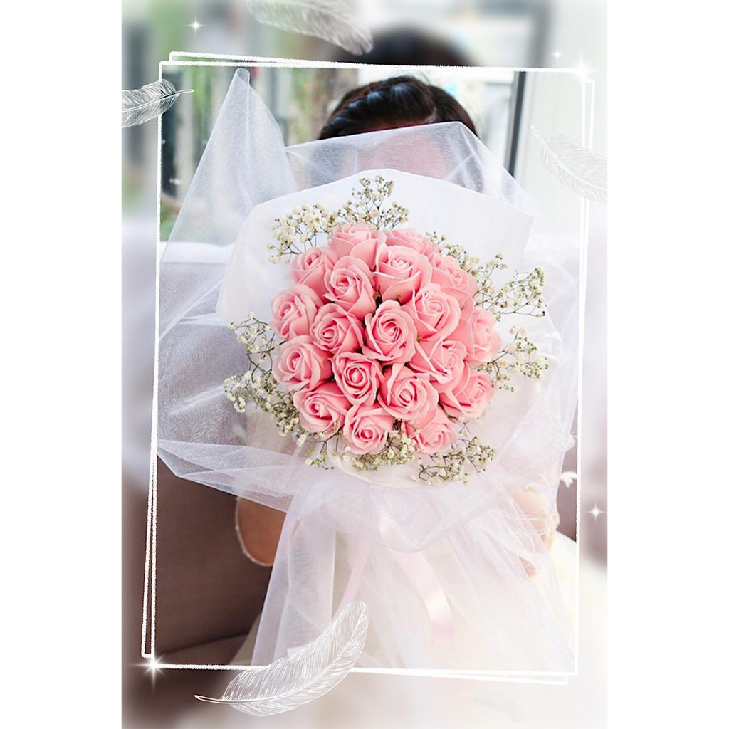 19 Baby Pink Roses Fragrance Soap Flower Bouquet With Long Wrapping Light Gift Bag Card Shopee Singapore