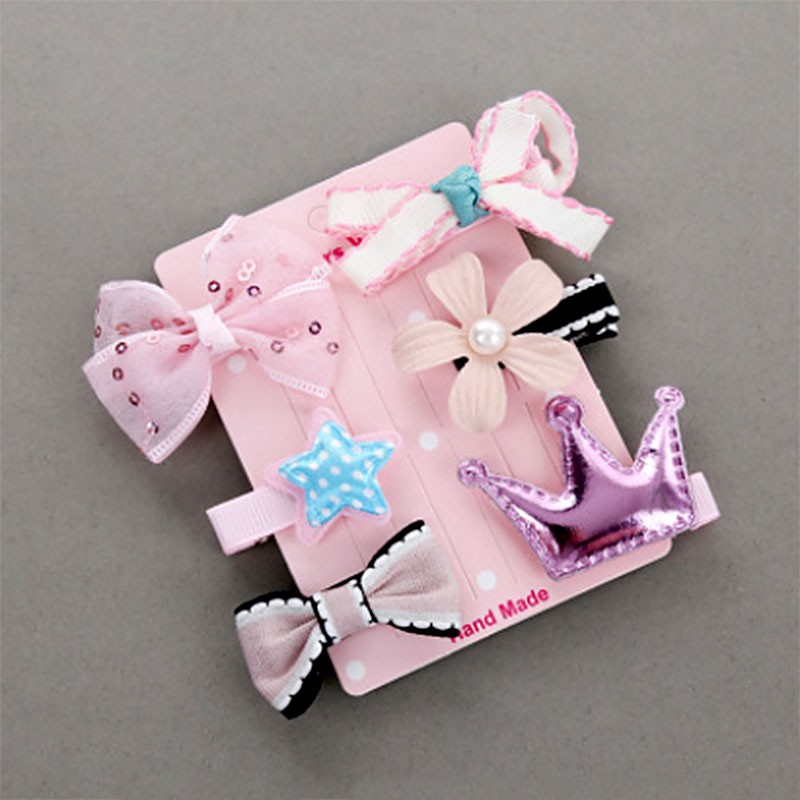 6Pcs//set New Baby Girl Hairpin Hair Clip Cute Mini Barrettes Star Bow Flower Kid