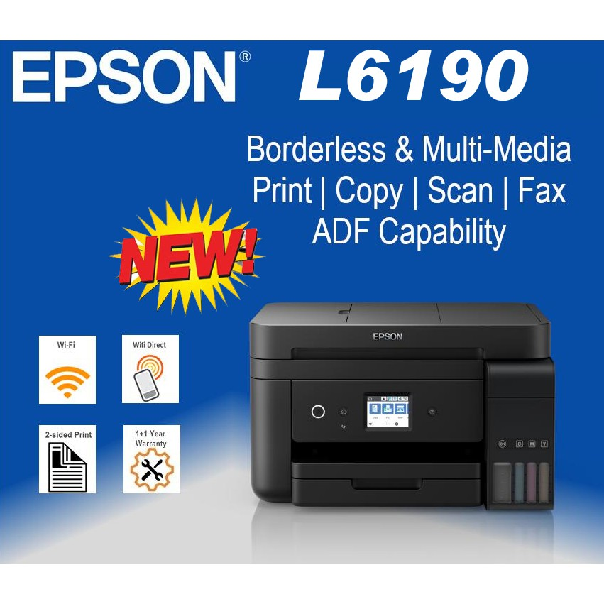 Epson L6190 Wi-Fi Duplex All-in-One Ink Tank Printer with ADF Ecotank Print  /Scan/Copy/Fax/ 2 4