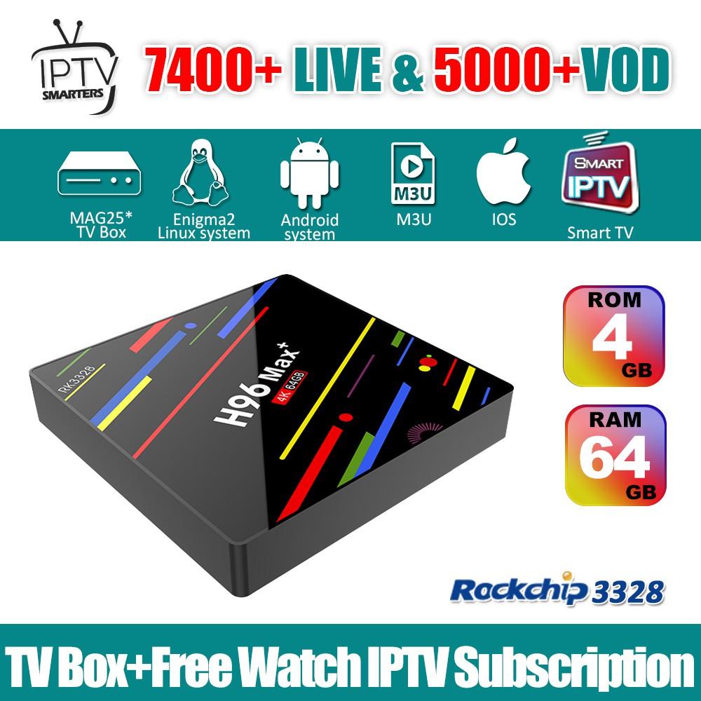 H96 Max Plus IPTV Box Android 8 0 RK3328 4GB 64GB & IPTV Smarters  Subscription Sports Astro Live + VOD