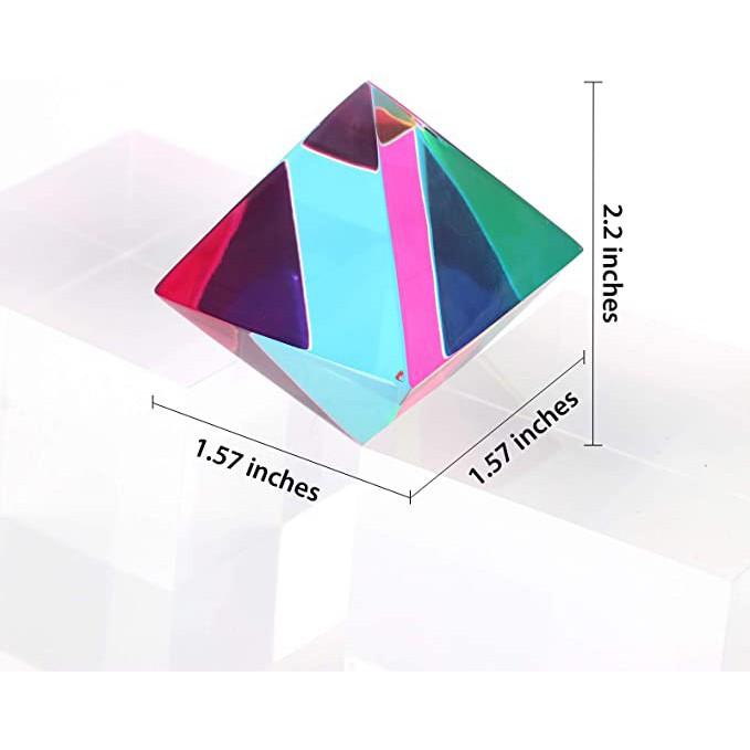 ZhuoChiMall CMY Orthoctahedron, 40mm (1.57 inch) Regular Octahedron Prism for Home or Office décor, STEM/STEAM Desktop Toys Easter Basket Stuffer for Kids
