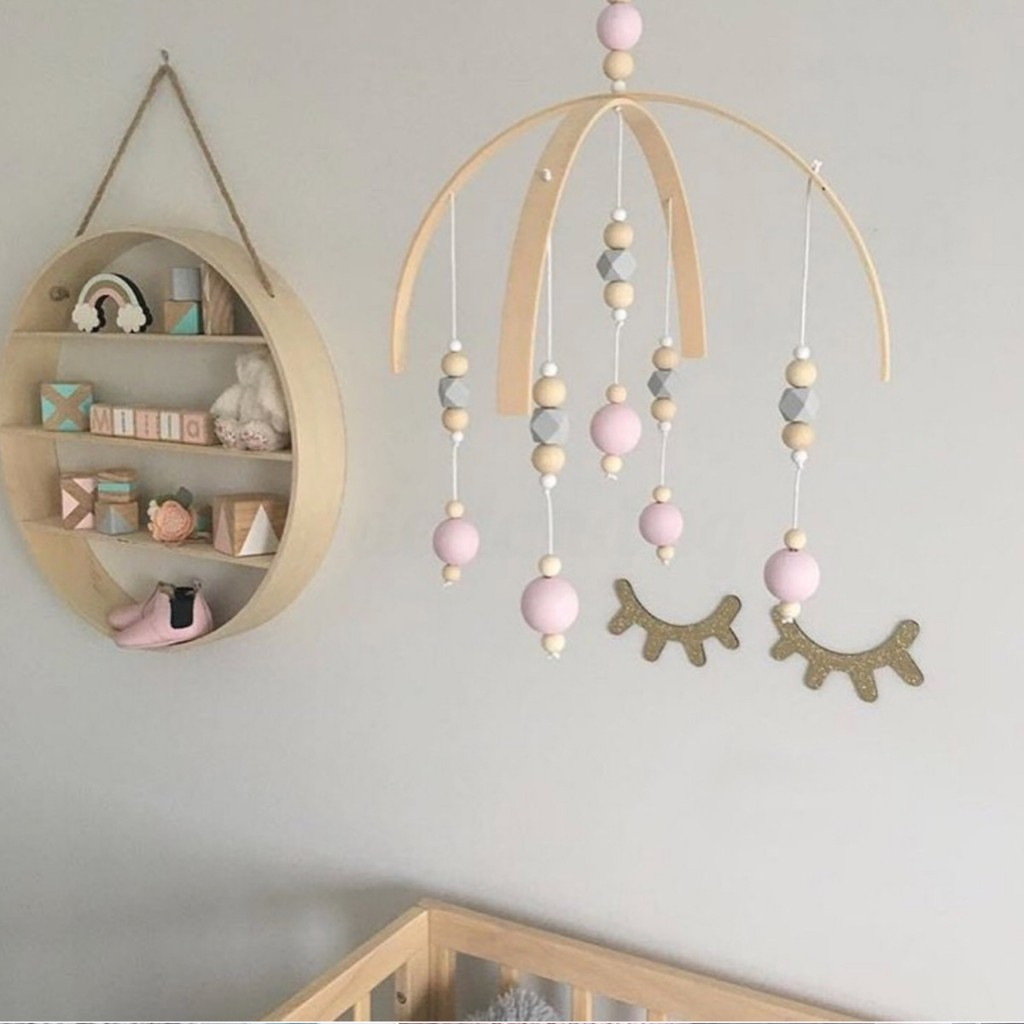 Baby Crib Mobile Bed Bell DIY Toy Holder Arm Bracket Wind-up Wooden Beads  O6