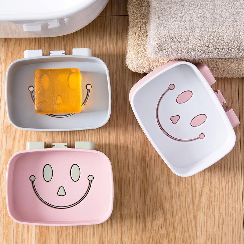 No Perforation Smile Shape DIY Soap Box Bathroom Shelves Soap Rack Wall Type