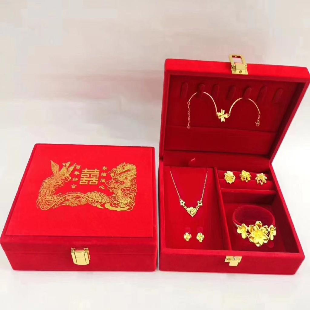 Wedding Three Gold Jewelry Storage Box Wedding Gold Jewelry Box Shopee Singapore