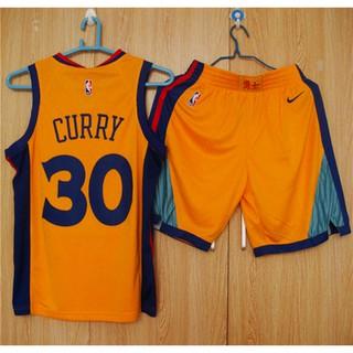 cheap for discount 9861a 3a5d6 NikeNBA Warriors 30 Curry jersey set yellow ball pants men and women vest  basket