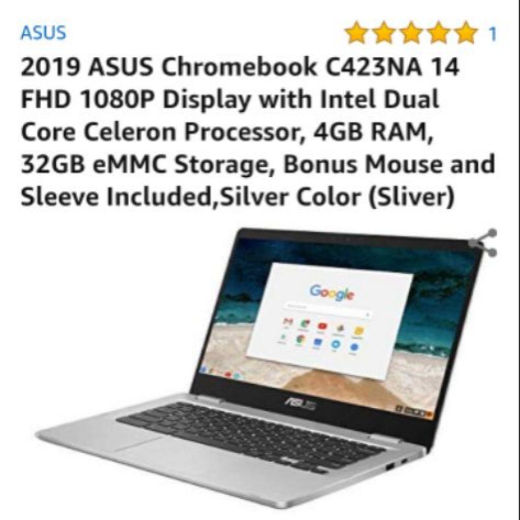 ASUS Chromebook 14 FHD 1080P Intel Dual Core Celeron Processor 4GB RAM 32GB eMMC Storage Bonus Mouse and Sleeve Included Silver
