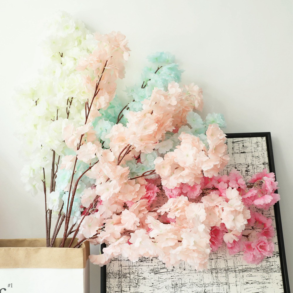 3 Heads Cherry Blossom Artificial Flowers Silk Cherry Blossom Branches Tall Fake Flower Arrangement For Home Wedding Decoration Shopee Singapore