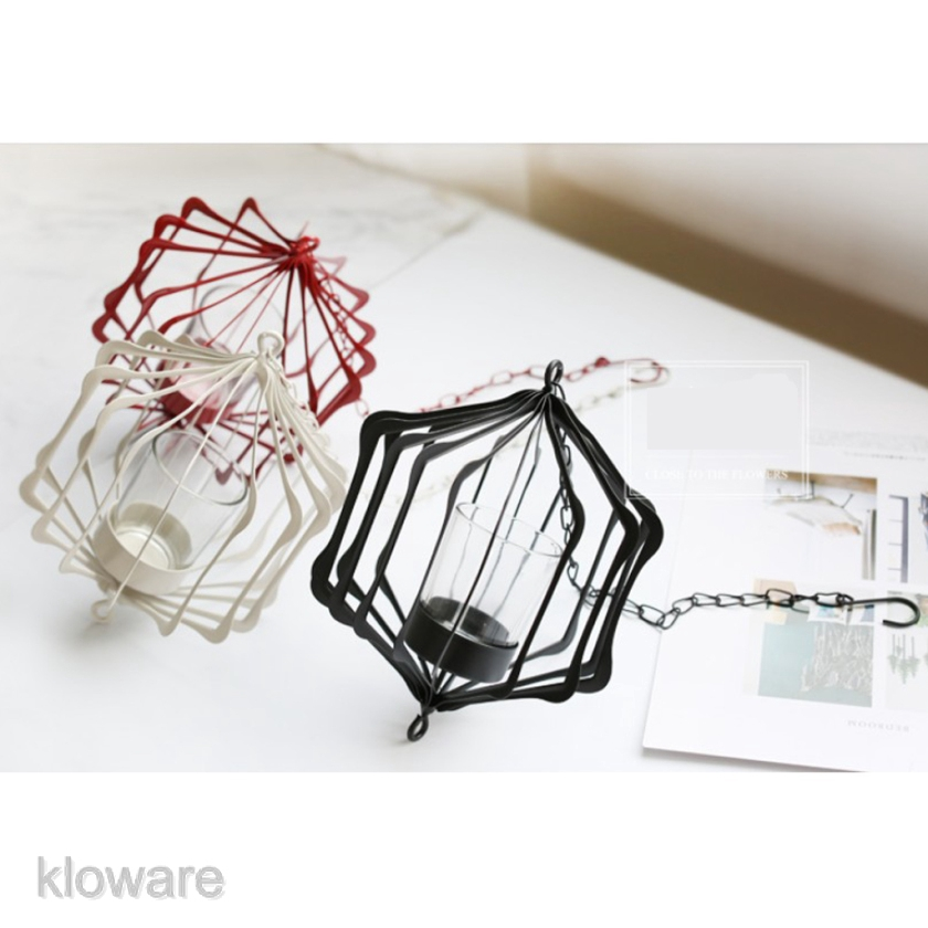 Hanging Iron Frame 3D Geometric Tealight Candle Holder for Home Decor/_Black
