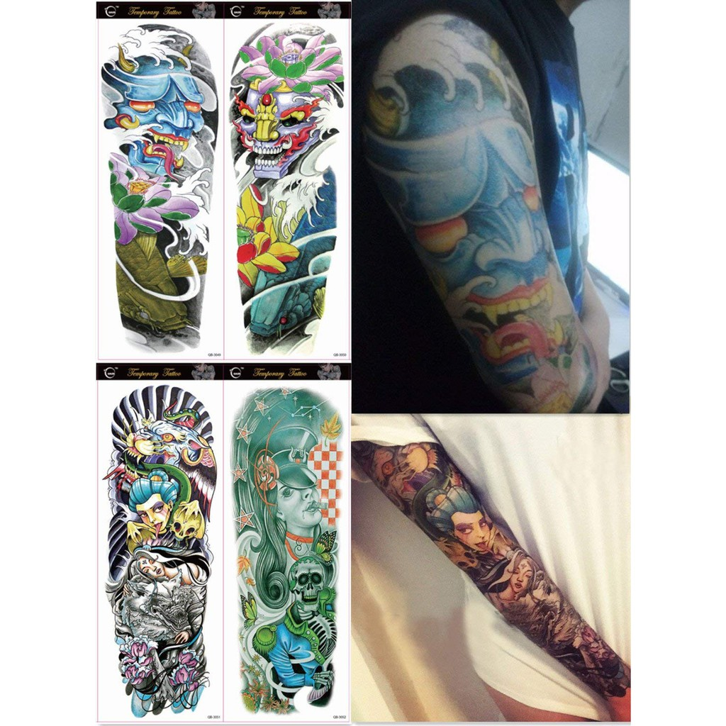f1390a832 4 Sheets Extra Large Temporary Tattoos, Full Arm-style 33-36   Shopee  Singapore