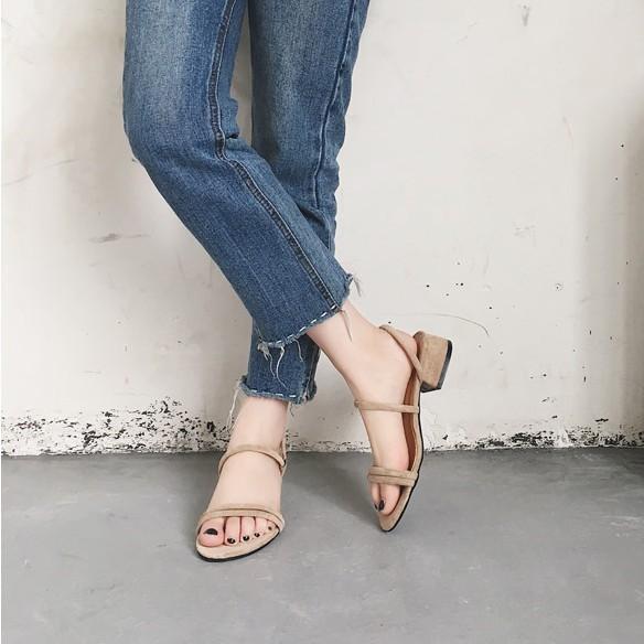 05cc3e4cb0b36 Women's Suede Thick Heel Shoes Summer Open Toe Buckle Sandals Pumps
