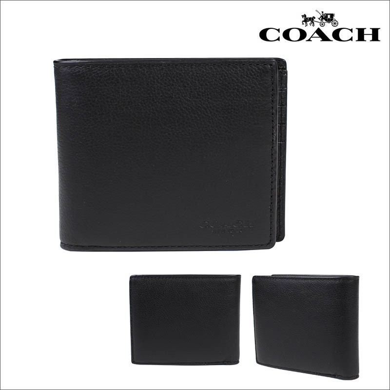 9be3950e269a Authentic Coach Mens Compact ID Wallet IN Sports Calf Leather Black (F74991)