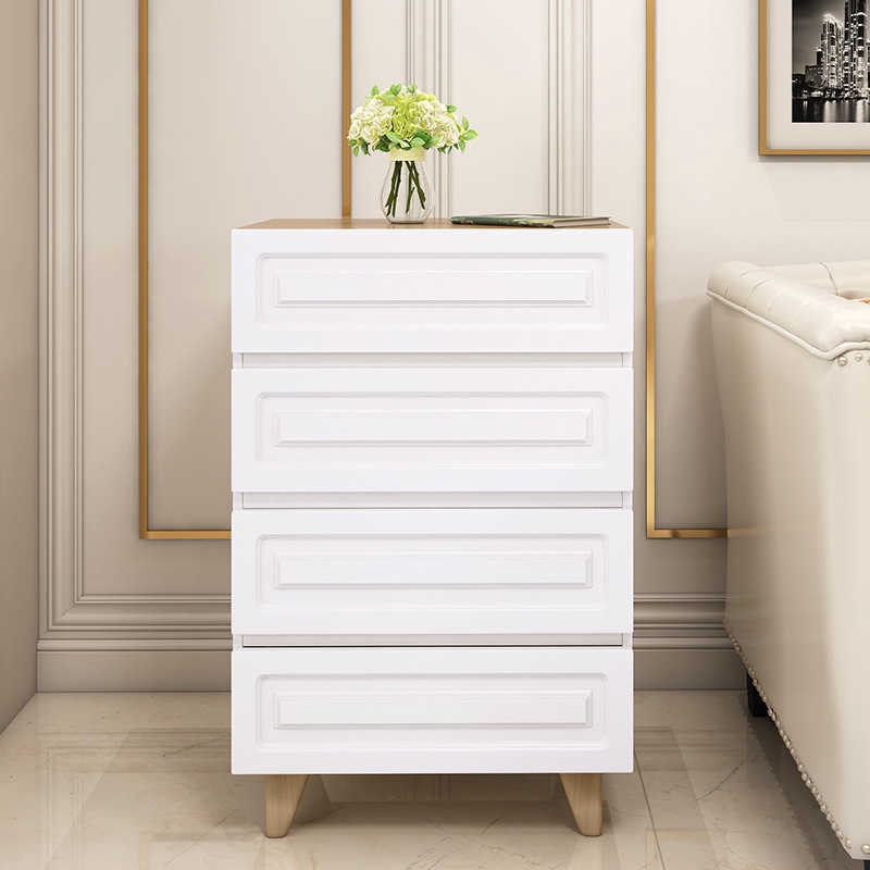 Four Drawers Bedroom White Wooden Chest Of Drawers Living ...