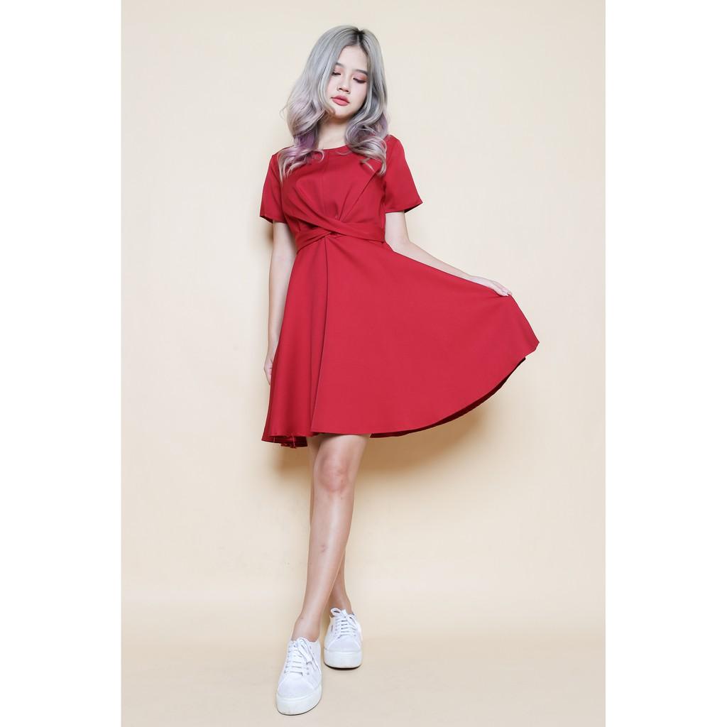 472e8811a5201 ZALORA - Love Angular Neck Fit & Flare Dress   Shopee Singapore