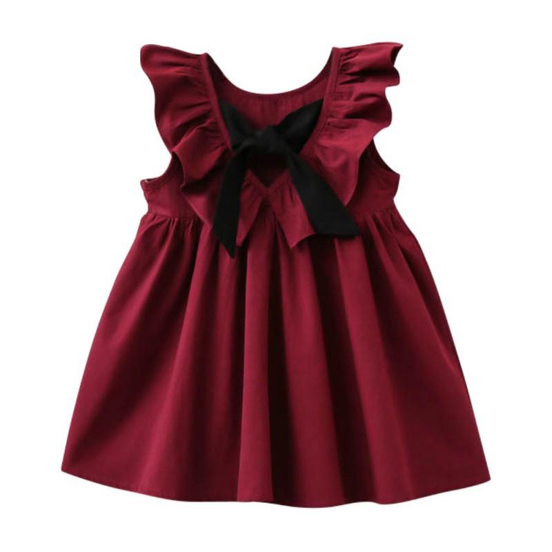 Cute Infant Baby Sleeveless Floral Dot Print Backless Dress Suspender Dresses Willsa Girls Dresses