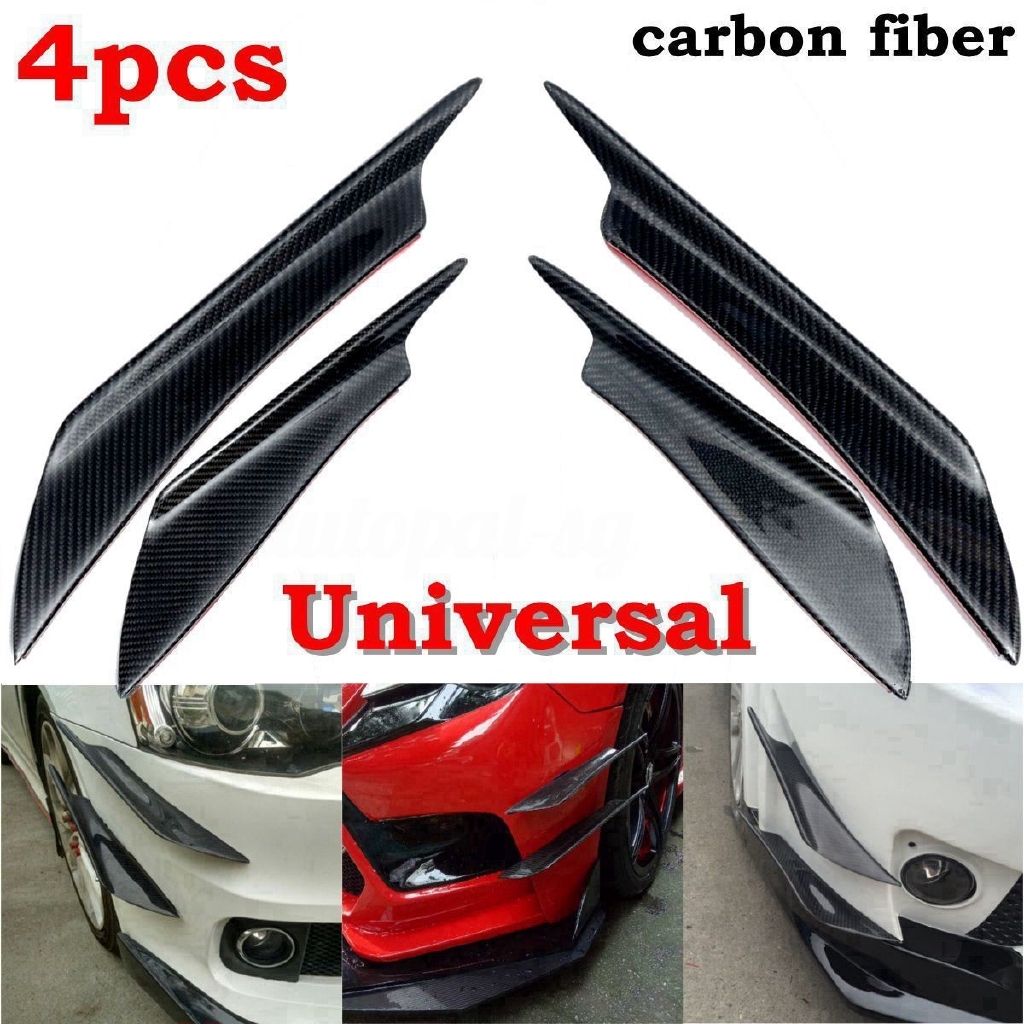 4pcs Red Car Front Bumper Splitter Universal Fins Body Spoiler Canards For Ford