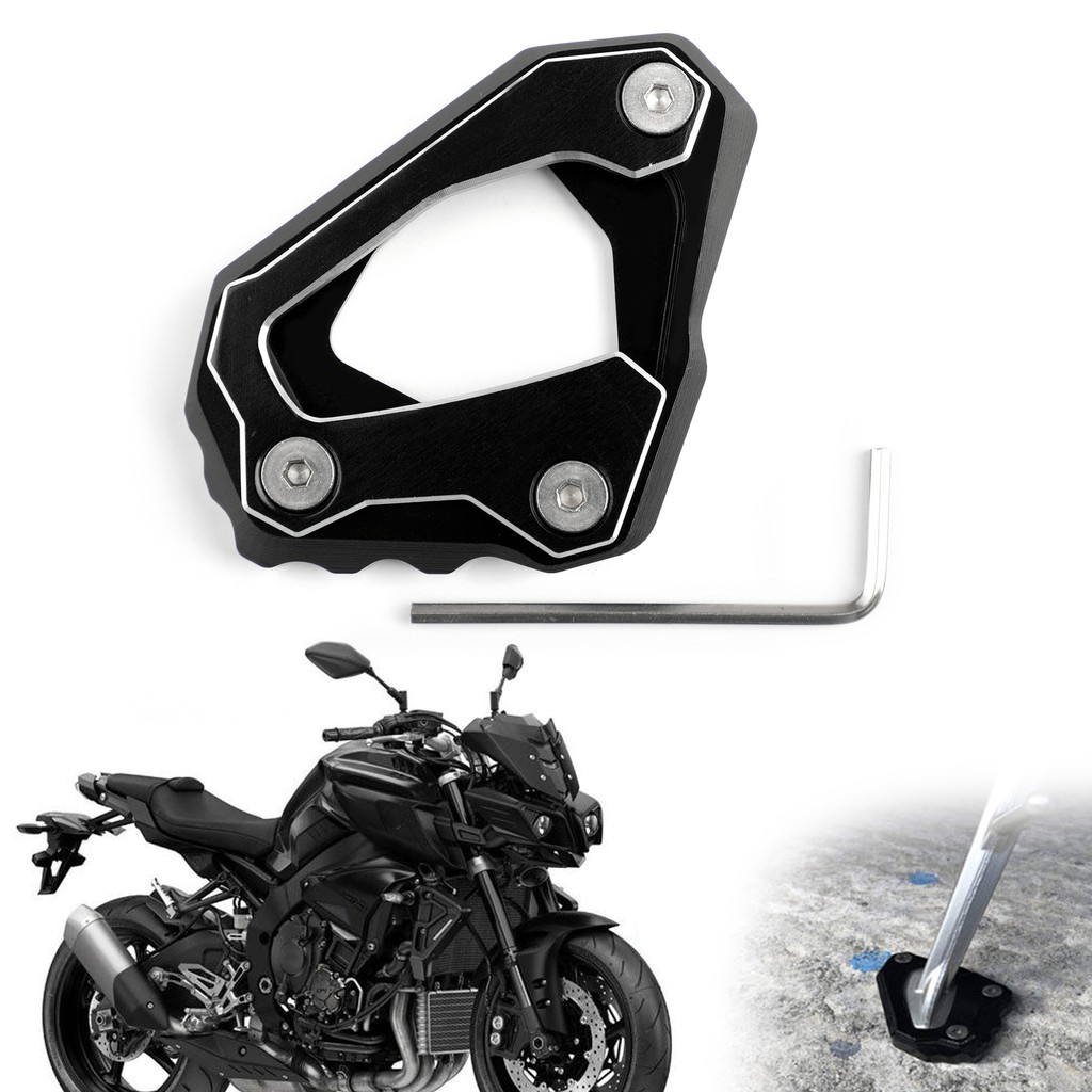 Kickstand Side Stand Extension Foot Plate Black Fit 2016-2018 YAMAHA MT-10 FZ-10