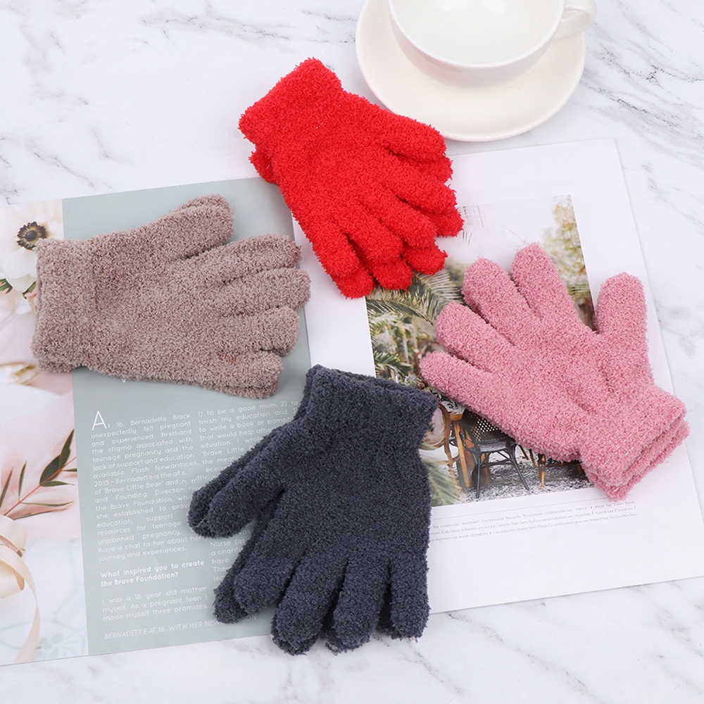 EG/_ Toddler Baby Boy Girl Cute Soft Knitting Mittens Solid Winter Warm Gloves Ne
